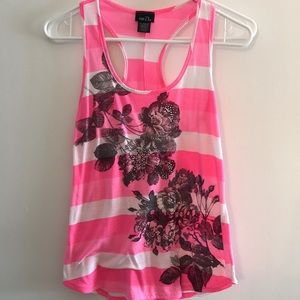 Striped pink and white flower tank top